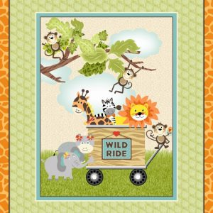 Jungle animals in cart 36 Inch Panel 1236P 64