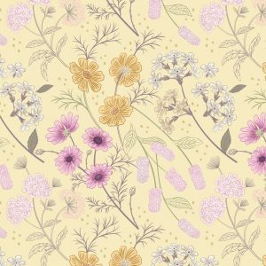 Garden floral on pale yellow A457.2