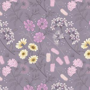 Garden floral on warm lilac A457.3