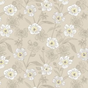 Rambling floral on dark cream A455.1