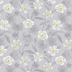 Rambling floral on lightest grey A455.2