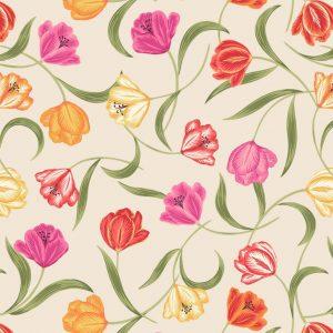 Tulips on cream A461.1