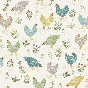 Clara's Garden Chickens Cream 2262 Q