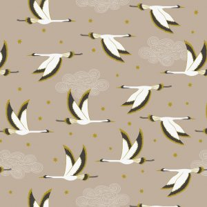 Flying heron on beige with gold metallic A488.1