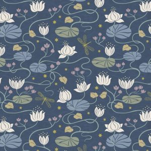 Lilies on dark blue with gold metallic A486.3