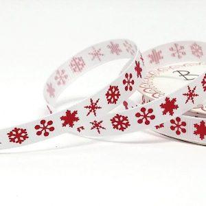 Red Snowflake Print on 9mm White Grosgrain Ribbon